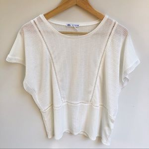 Zara L NEW Off White Lightweight Blouse Top Boho